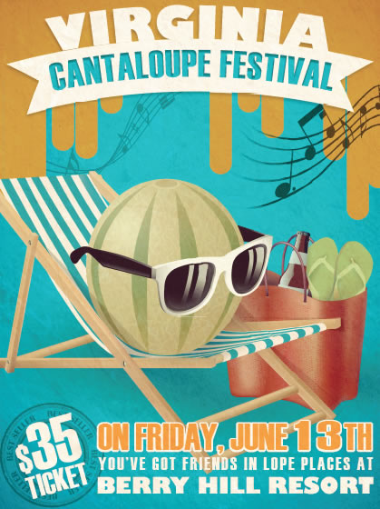 Virginia Cantaloupe Festival poster design, custom illustration