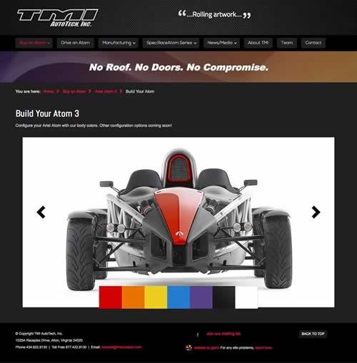 Race Car Configurator Developed For Tmi Autotech Ariel Atom New Site