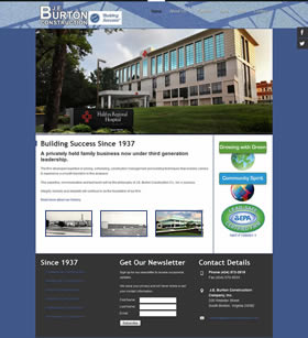 JE Burton Construction Company commercial construction website design
