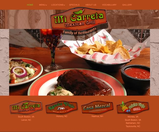 Mi Carreta Mexican Restaurant website design