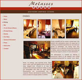 Molasses Grill restaurant website design