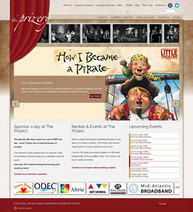 The Prizery cultural and performing arts website design