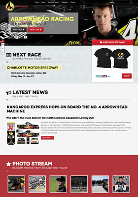 Arrowhead Racing Jeb Burton NASCAR Truck racing team website design