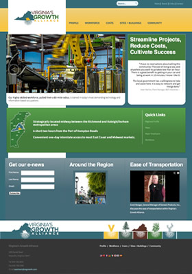 Virginia's Growth Alliance regional economic development website design