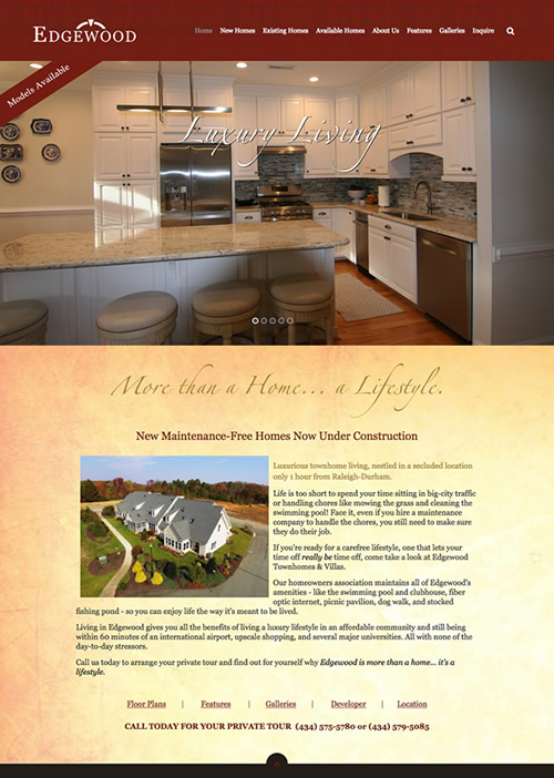 Edgewood Luxury Townhomes and Villas web design