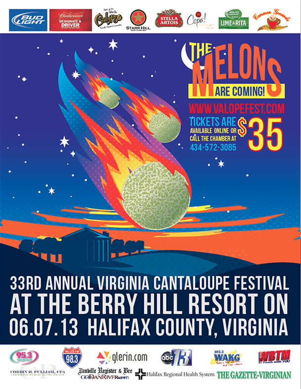 Virginia Cantaloupe Festival illustrated poster design
