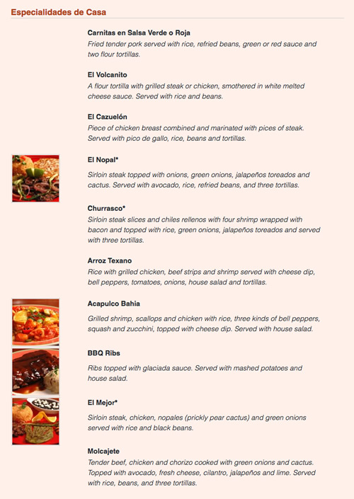 Mexican Restaurant menu website design