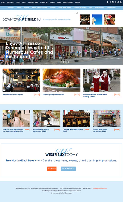 Downtown Westfield NJ rebranding and website design